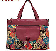 Kate & Co.® Women Cowhide / Canvas Tote Red / Khaki - TH-02037
