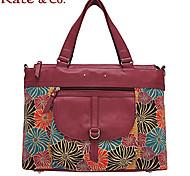 Kate & Co.® Femme Cuir de Vache / Toile Cabas Rouge / Kaki - TH-02037