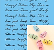Water Transfer Printing Black Words And Expression Nail Stickers