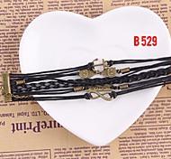 Fashion Women Black Bracelet Handmade Woven Bangle Jewelry