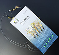 5Pcs/lot Sabiki Bait Rigs 5 Hooks Saltwater Fishing Lure Golden Fishing Hooks Size:1/0