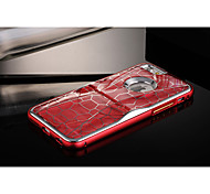 Cool Special Design Grid Pattern  PC + Aluminium Metal Bumper Frame Back Case for iPhone 6 with Kickstand