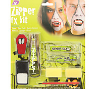 Halloween Zipper Gum On Face Package Includes Vampire Teeth Face Paint