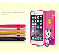 leiers®lovely Cartoon süßen domi cat 2 PU-Leder-Abdeckung TPU Hülle mit einfachen Lanyard für iPhone 6 (verschiedene Farben)