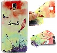 Smiling Face Feathers Phrase Pattern 0.6mm Ultra-Thin Soft TPU Case for Samsung N7505