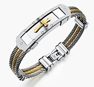 ailaicity®Stainless Steel Wire Drawing Men Cross Bracelet