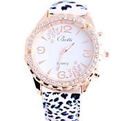 leopardo moda relógio de couro de grãos de alta qualidade mulheres