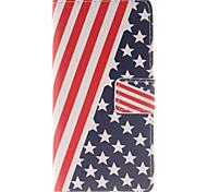 il disegno della bandiera americana pu custodia in pelle per Huawei p8 lite