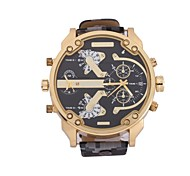 Men'S Gouble Movement Time + Calendar Display Military Camouflage Belt Gold Watch Cool Watch Unique Watch