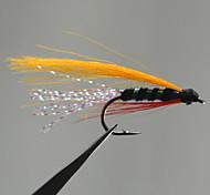 12PCS Orange Color Blue Body Streamer Fly Hook Size 7
