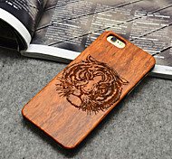 Wooden iphone Case Tiger Carving Concavo Convex Hard Back Cover for iPhone 6/6s