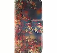 ameixa flor padrão pu material de tampa aberta a janela de couro para iphone 6s