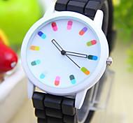 Дети Модные часы Кварцевый PU Группа Черный Белый Синий Красный Оранжевый Зеленый Розовый Фиолетовый Желтый