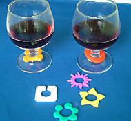 6 Stück Silikon-Drink Marker Set-Stil Zufalls