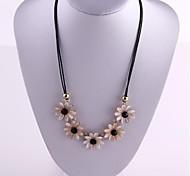 White Daisy Pendant Black Leather Rope Short Women Necklace