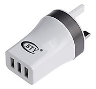 BTY M534 Universal 3-port USB Power Charger Adapter - White (100~240V / UK Plug)