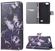Purple Butterfly Pattern Leather Wallet Flip With Stand Case cover For Huawei Honor 4C Mobile Phone Cases Covers