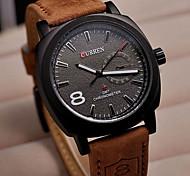 Curren 8139 Мода белый циферблат коричневый кожаный ремешок бизнес часы наручные часы армия военные кварцевые часы женщины мужчины