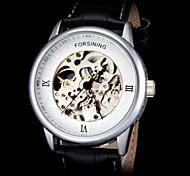 FORSINING Men's Skeleton Auto Mechanical Leather Strap Watch