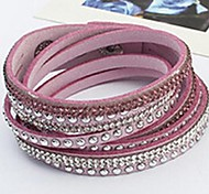 Charm Women Red Leather Long Bangle Jewelry Woven Bracelet