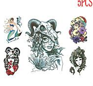 Séries Animal Tatuagem Adesiva - Non Toxic/Estampado/Tamanho Grande/Tribal/Waterproof - para Feminino/Masculino/Adolescente - de Papel -