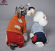 Dog Sweater Clothes/Jumpsuit Orange Yellow Blue Gray Dog Clothes Winter Spring/Fall Color Block Fashion