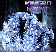 King Ro solar 24.6ft 50LED Lotus Fancy Wedding Party Decoration Light Outdoor Waterproof String Lights