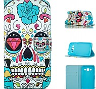 Cool Skull Pattern PU Leather Painted Phone Case For Samsung Galaxy G360/G530/G357