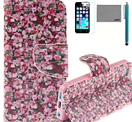 LEXY® Rose Sea Pattern PU Full Body Leather Case with Screen Protector and Stylus for iPhone 5C