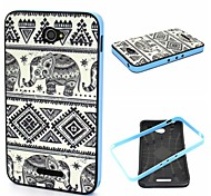 2-in-1 Bumblebee Elephant Carpet Pattern TPU Back Cover + PC Bumper Shockproof Soft Case For Sony E4