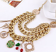 Fashion Jewelry Cherry Pendant Multilayer Chain Necklace