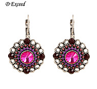 D Exceed  Antique Silver Plated Zinc Alloy Earrings Resin with Purple and Brown Beads Vintage Earrings Brand New Styles
