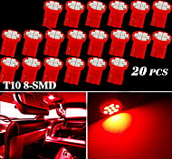 20X Pure Red T10 8-SMD Side Wedge Map Dome Door Interior LED Light Lamps W5W 168