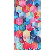 Teste padrão do hexágono pu caso de telefone de couro para sony m4