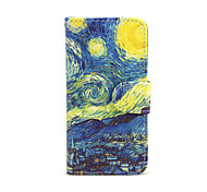 Starry Sky Flowers Pattern PU Leather Full Body Case with Card Slot and Stand for iPhone 5C