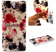 Ink Painting Rose Words Phrase Pattern 0.6mm Ultra-Thin Soft Case for Sony C5
