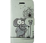 мультфильм слон и одуванчика шаблон PU кожаный флип чехол с магнитной оснастки и слотом для карт iPhone 5 / 5s
