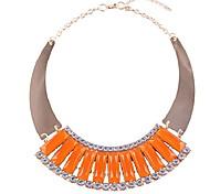 Lady Fashion Orange Crescent Shaped Choker Necklace Pendant
