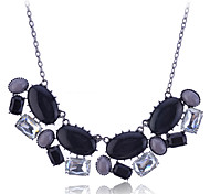 European Style Fashion Individuality Resin Gem Drill  Joint Alloy Necklace