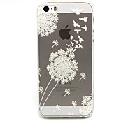 White dandelion Pattern TPU Relief Back Cover Case for iPhone 5/iPhone 5S