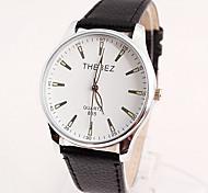 Men's Fashion Pu Belt Waterproof Watch White Dial