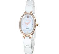 skone® mulheres ouro rosa&shell de strass cristal de prata discar relógios de quartzo cerâmica branca