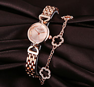 Weiqin® Rose Gold Crsytal Flowers Pendant Quartz Women's Bracelet Watches Cool Watches Unique Watches Fashion Watch
