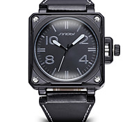 SINOBI®Big Square Dial Bronze Antique Watch Men Luxury Brand Fashion Casual Black PU Le Cool Watch Unique Watch