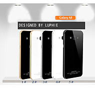 LUPHIE Aluminum Metal Frame Bumper Tempered Glass Back Cover Case For SAMSUG Galaxy A8