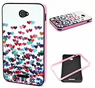 2-in-1 Many Colorful Heart Pattern TPU Back Cover + PC Bumper Shockproof Soft Case For Sony E4