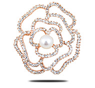High-Grade Thick Plating Freshwater Pearl Corsage Diamond Rose Scarf Buckle Brooch