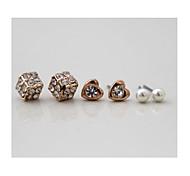 Fasion Pearl  Diamond Love Heart Shape Combination  Earrings *6Pcs