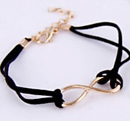 Lady Jewelry Vintage Black Leather Cord Gold 8 Word Bracelet