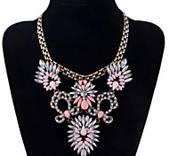 Fashion Exaggerated Colored Crystal Short Necklace Choker